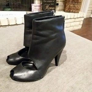 Black Leather Nine West Booties/Heels